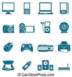 media, computer, icons.