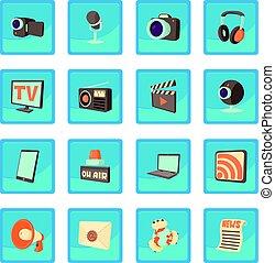 media, comunicazioni, icona, blu, app