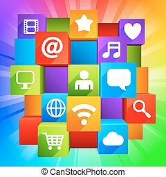 Media concept. - Communication and media symbols on colorful...