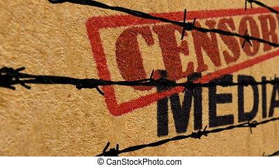 media, concept, gecensureerde