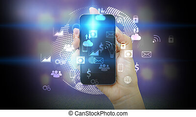 media, concept., ikonen, hand, ringa, holdingen, social, smart