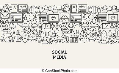 media, concept, spandoek, sociaal