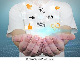 media, concept., titolo portafoglio mano, sociale