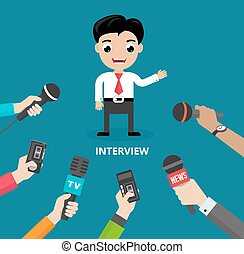 Media conducting a press interview with a businessman ...