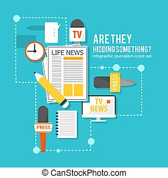 Media Correspondent Flat Infographic Concept - Media...
