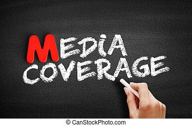 Media coverage text on blackboard