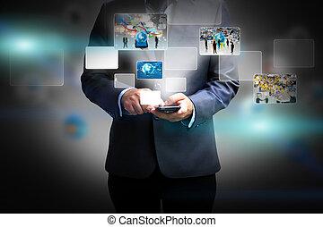 media, człowiek, handlowy, dzierżawa, towarzyski