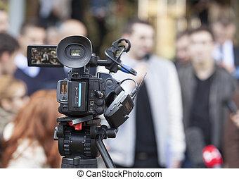 media, dekking, van, een, gebeurtenis