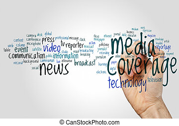 media, dekking, woord, wolk