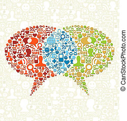 media, discorso, sociale, icona, set, bolle