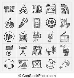 media, doodle, komplet, ikony