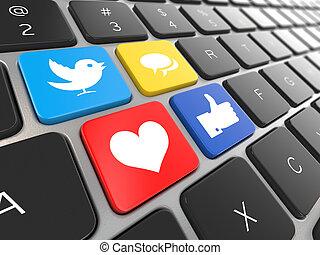 media, draagbare computer, keyboard., sociaal