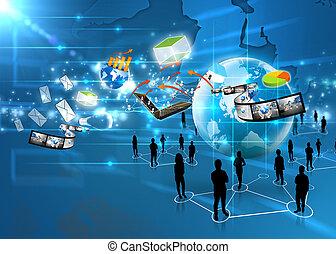 media, drużyna, towarzyski, handlowy