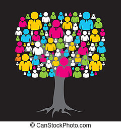 media, drzewo, sieć, barwny, towarzyski