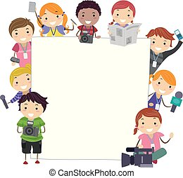 media, dzieciaki, stickman, deska, ilustracja