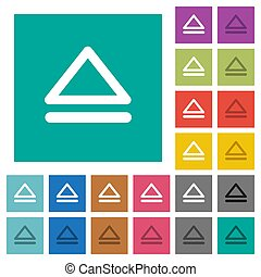Media eject square flat multi colored icons
