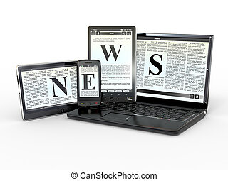 Media. Electronic news. 3d - Media. Text NEWS on screen of ...