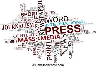 media, en, journalistiek, markeringen, wolk