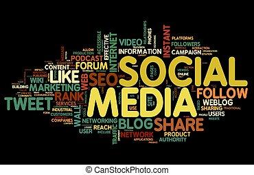 media, etichetta, nuvola, sociale