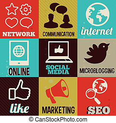 media, etiketter, retro, interne, social