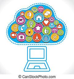 media, fare, sociale, nuvola, icone