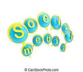 """media"""", fatto, parola, testo, """"social, bolle"""