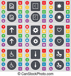 Media file, Arrow left, Light, Arrow up, Gear, Heart, Disabled person, Tie, Receiver icon symbol. A large set of flat, colored buttons for your design.