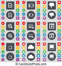 Media file, Battery, Dislike, Magnifying glass, Picture, Window, Retro TV, Cloud icon symbol. A large set of flat, colored buttons for your design.
