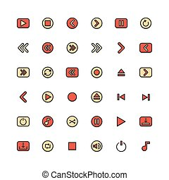 Media filled outline icon set. Vector and Illustration.