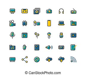 Media filled outline icon set, Vector and Illustration.
