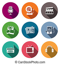Media flat icon set - video, news, music, TV, recording,...