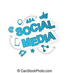 media, fondo, rete, icons., sociale
