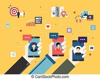 media, głoska., mądry, towarzyski, komunikacja
