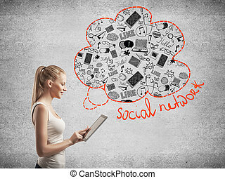 media, gebruik, vrouw, tablet, iconen