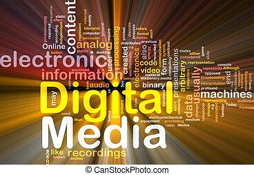 media, glödande, begrepp, bakgrund, digital
