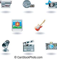 media, glanzend, iconen