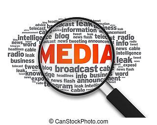 media, glas, -, förstorar