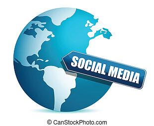 media, globe, illustratie, sociaal