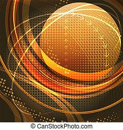 Media globe in gold - Illustration with globe flying in the ...