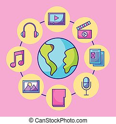 media, globo, multimedia, comunicazione, collegamento, sociale, mondo