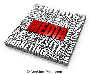 Group of media related words. Part of a series of business concepts.