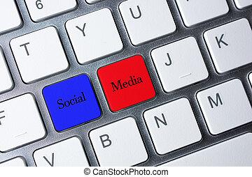 media, guzik, klawiaturowy komputer, towarzyski, biały