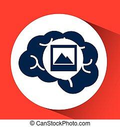 media, huvud, begrepp, foto, hjärna,  social
