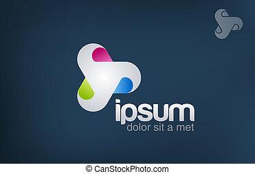 media, icon., looped., abstrakcyjny, cykl, logo