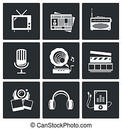 Media icon set - video, news, music, TV, recording, photo -...