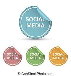 media, icon., wektor, towarzyski