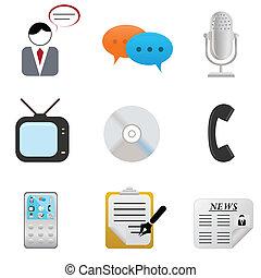 media, icone, e, simboli