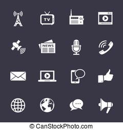 media, icone, set