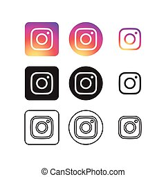 media, icone, sociale, instagram