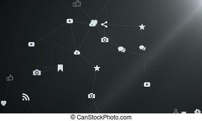 Media icons create a plexus.